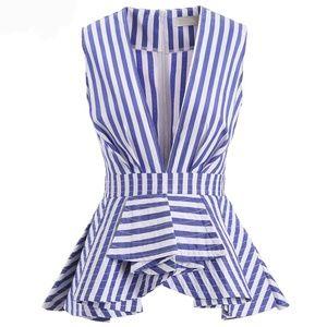 Tops - Nautical Stripe Blue White Sleevless Peplum Blouse
